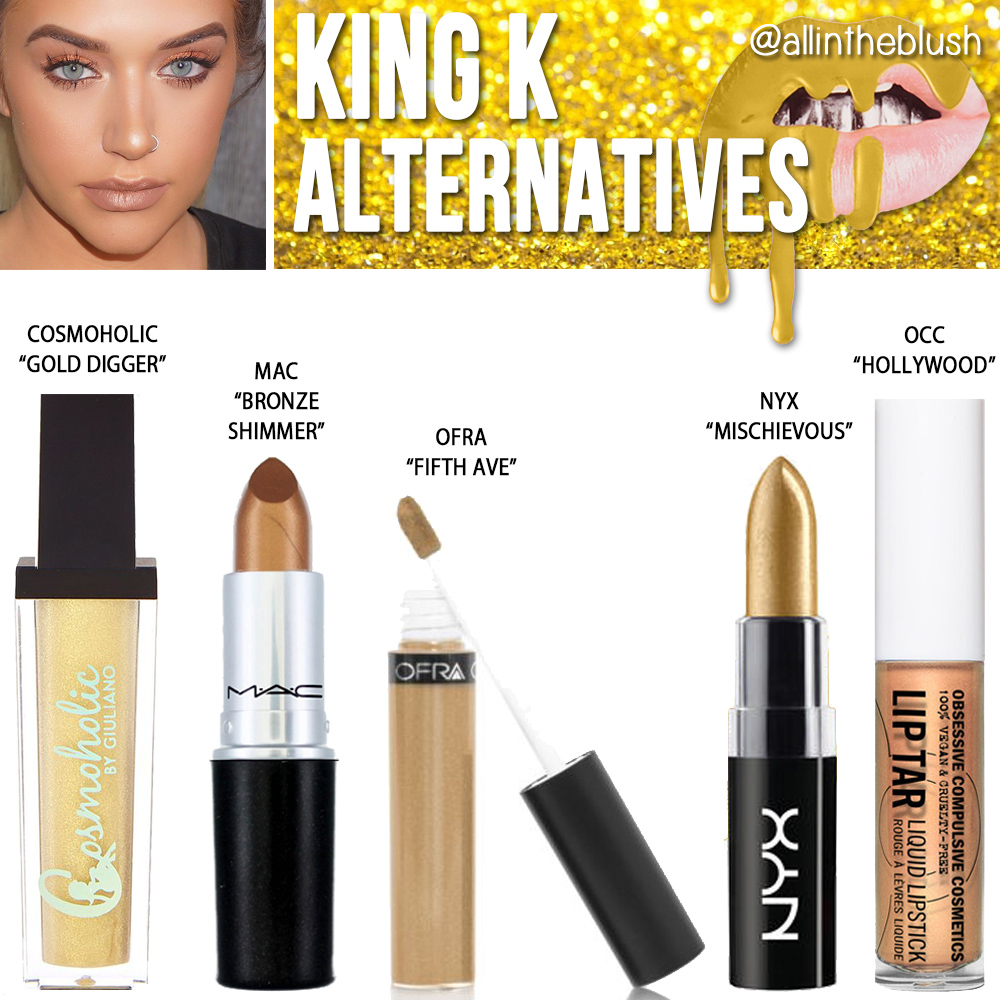 Kylie Cosmetics King K Metallic Liquid Lipstick Dupes