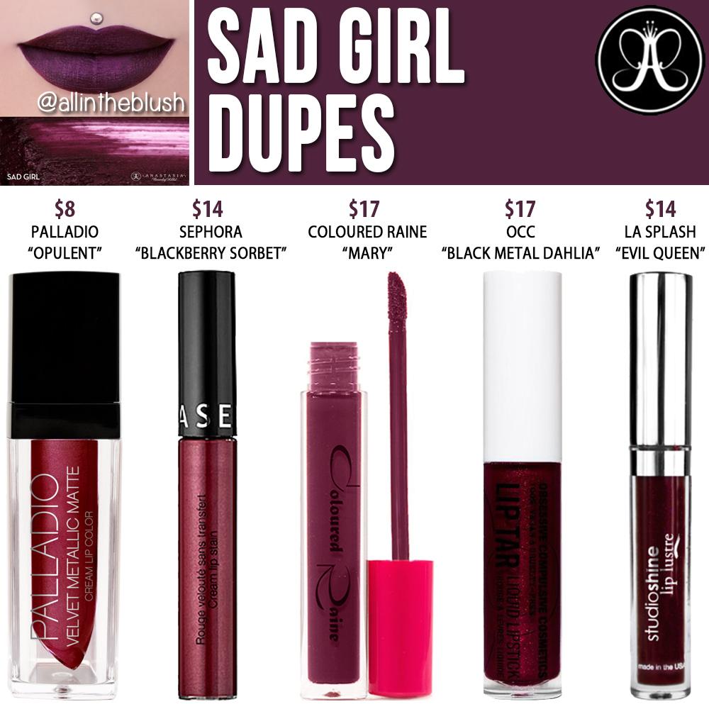 Anastasia Beverly Hills Sad Girl Liquid Lipstick Dupes