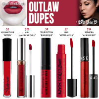 Kat Von D Outlaw Everlasting Liquid Lipstick Dupes