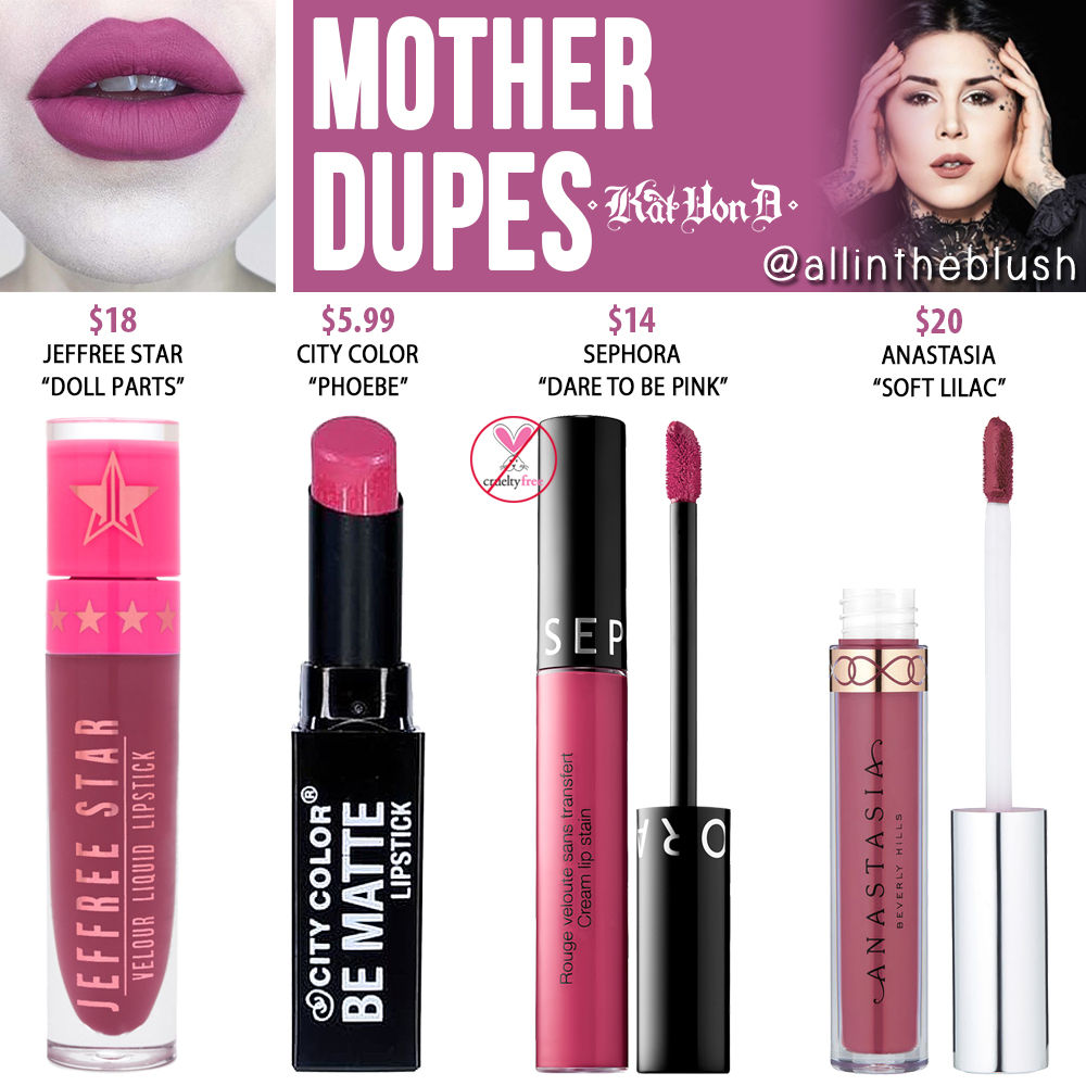 Kat Von D Mother Everlasting Liquid Lipstick Dupes - All In The Blush