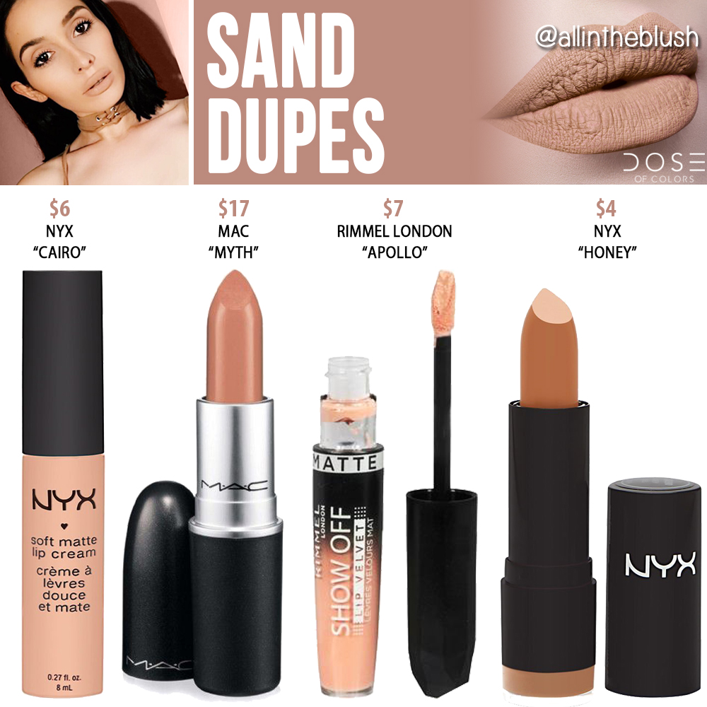 Dose of Colors Sand Liquid Lipstick Dupes