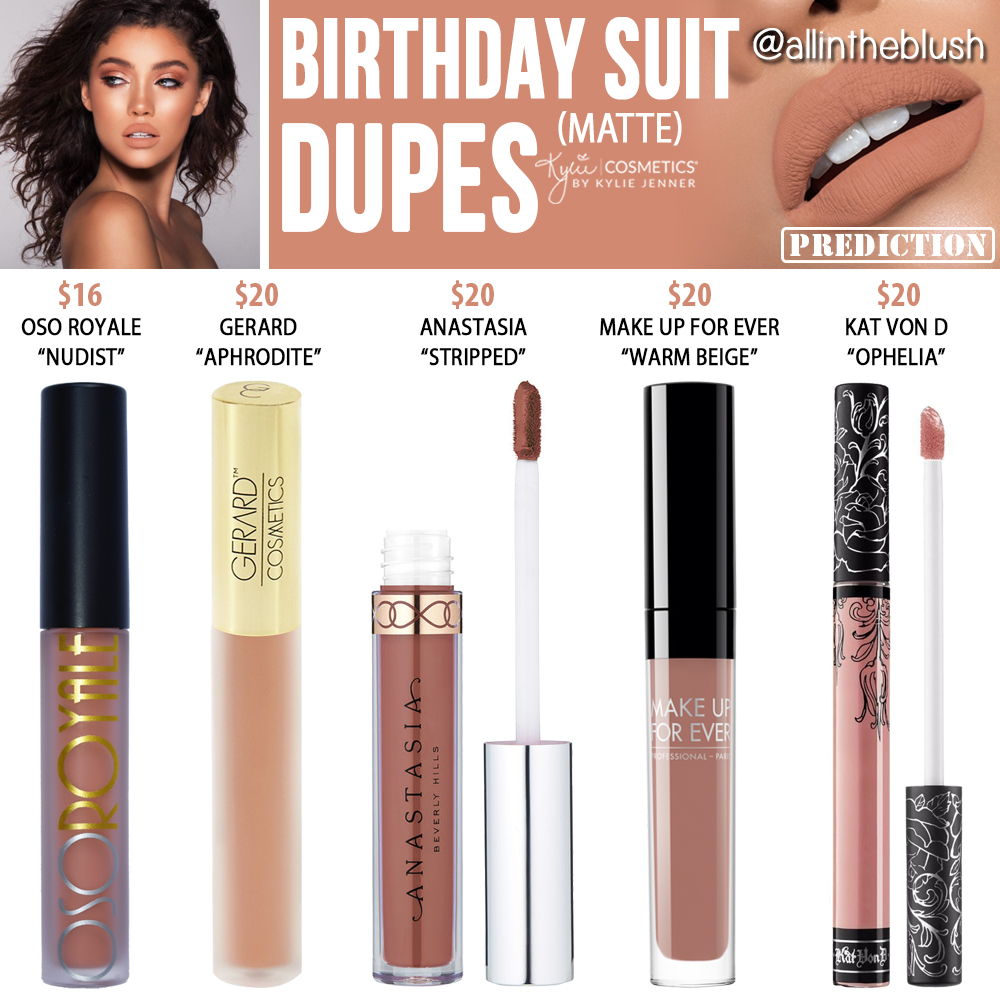 Kylie Cosmetics Birthday Suit Matte Liquid Lipstick Dupes