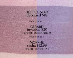 Jeffree Star Deceased Velour Liquid Lipstick Dupes