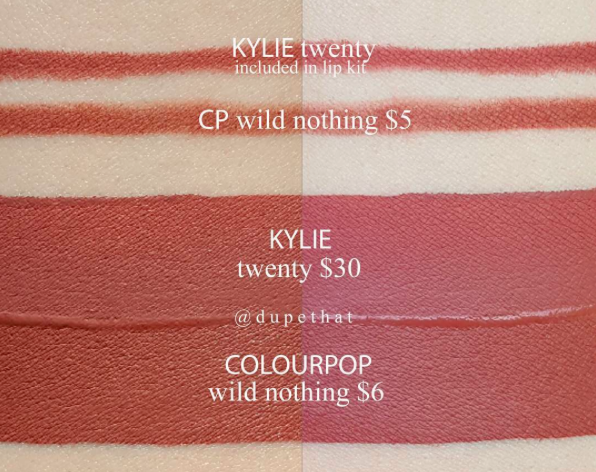 Kylie Cosmetics Twenty Lip Kit Dupes