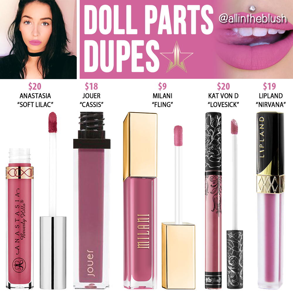 Jeffree Star Doll Parts Velour Liquid Lipstick Dupes