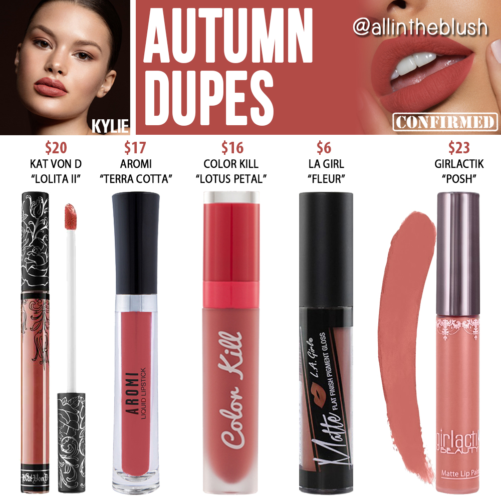 Kylie Cosmetics Autumn Liquid Lipstick Dupes All