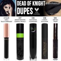 Kylie Cosmetics Dead of Knight Liquid Lipstick Dupes