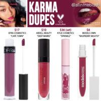 Kylie Cosmetics Karma Velvet Liquid Lipstick Dupes