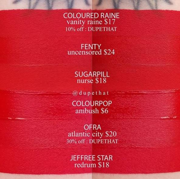 Jeffree Star Redrum Velour Liquid Lipstick Dupes ($10 & Under)