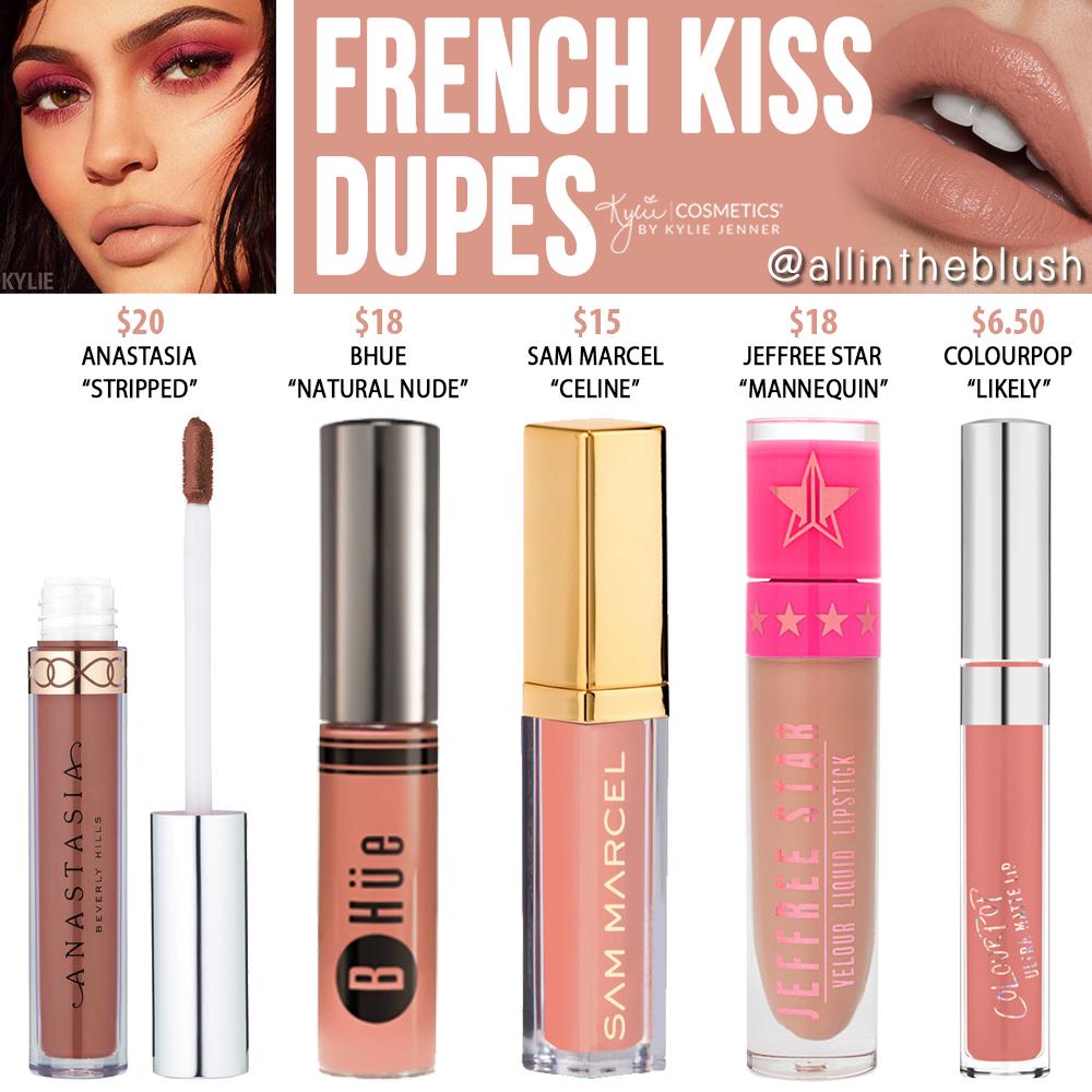 Kylie Cosmetics French Kiss Velvet Liquid Lipstick Dupes X De Beverly Nude Kourtney