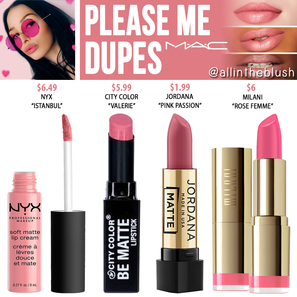 MAC Please Me Lipstick Dupes - All In The Blush