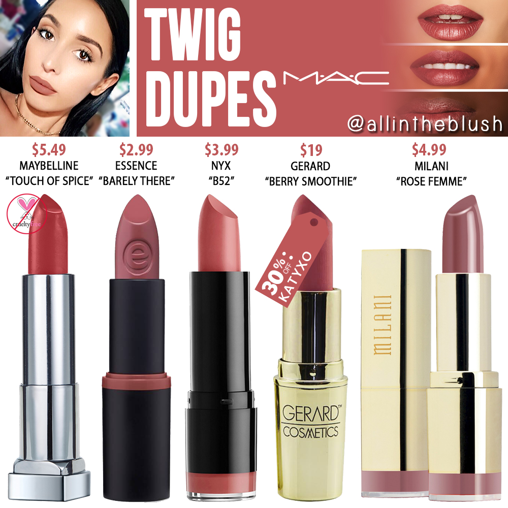 mac twig lipstick dupes all in the blush