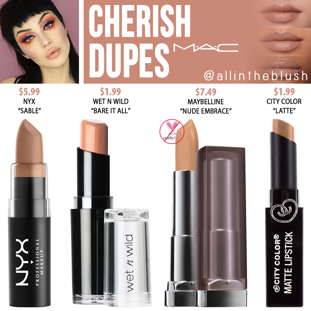 MAC Cherish Lipstick Dupes - All In The Blush