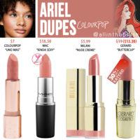 Colourpop Ariel Crème Lux Lipstick Dupes