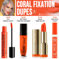 Jeffree Star Coral Fixation Velour Liquid Lipstick Dupes