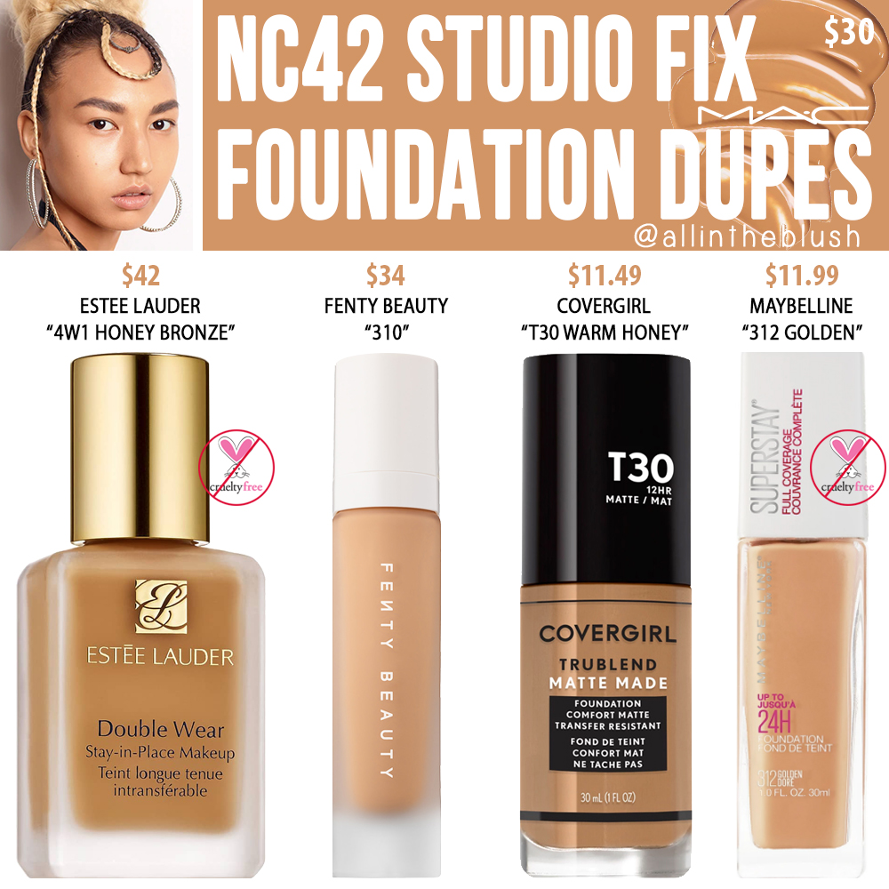 MAC NC42 Studio Fix Fluid Foundation Dupes - All In The Blush
