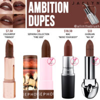 Jaclyn Cosmetics Ambition Lipstick Dupes