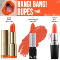 Melt Cosmetics Bang! Bang! Lipstick Dupes