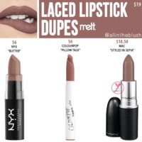 Melt Cosmetics Laced Lipstick Dupes