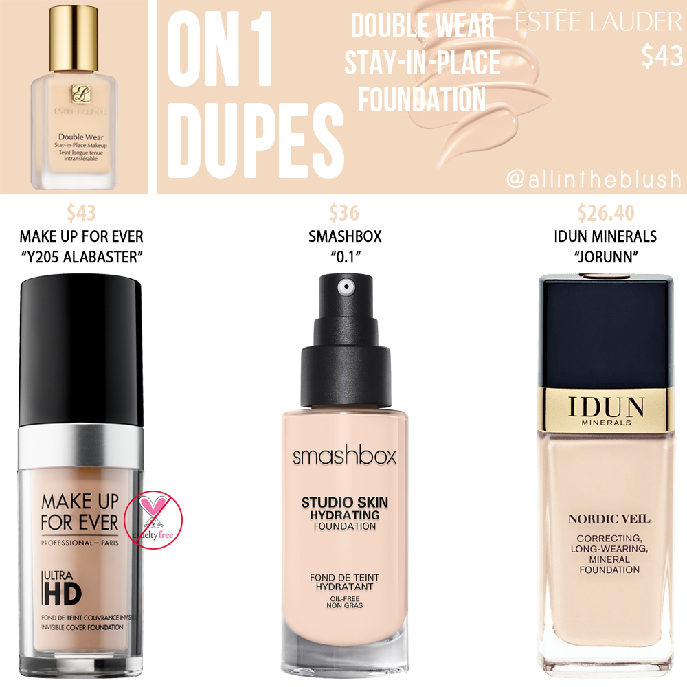 Estee Lauder 0N1 Double Wear Stay-in-Place Foundation Dupes