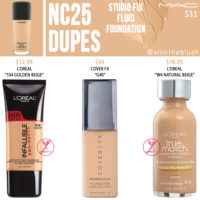 MAC NC25 Studio Fix Fluid Foundation Dupes
