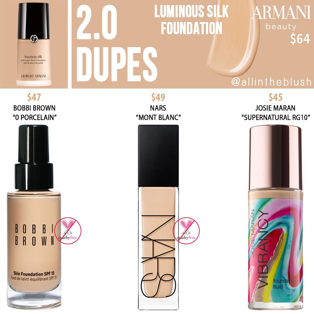 Armani Beauty 2.0 Luminous Silk Foundation Dupes