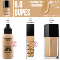 Armani Beauty 6.0 Luminous Silk Foundation Dupes