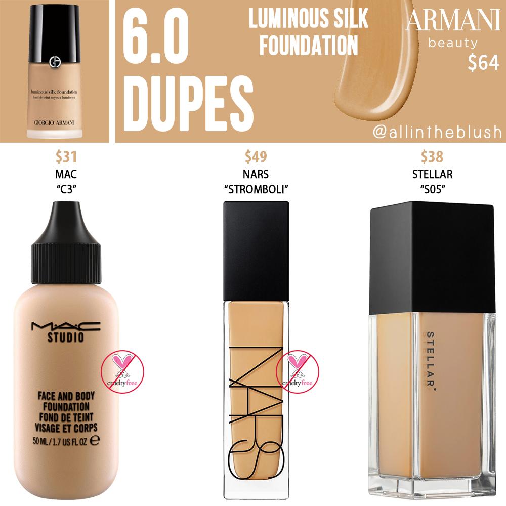 Armani Beauty 6.0 Luminous Silk Foundation Dupes