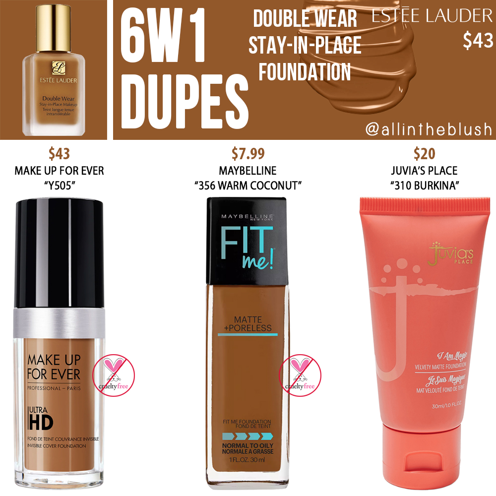 Estee Lauder 6W1 Double Wear Stay-in-Place Foundation Dupes