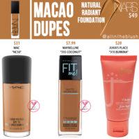 NARS Macao Natural Radiant Foundation Dupes