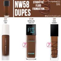 MAC NW58 Studio Fix Fluid Foundation Dupes