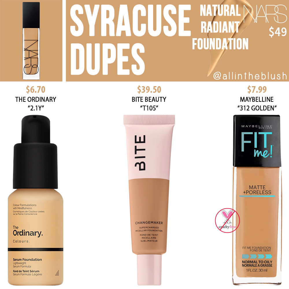 NARS Syracuse Natural Radiant Foundation Dupes