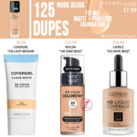 Maybelline 125 Nude Beige FIT ME! Matte + Poreless Foundation Dupes