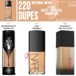Maybelline 220 Natural Beige FIT ME! Matte + Poreless Foundation Dupes