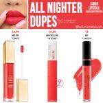 Kylie Cosmetics All Nighter Liquid Lipstick Dupes