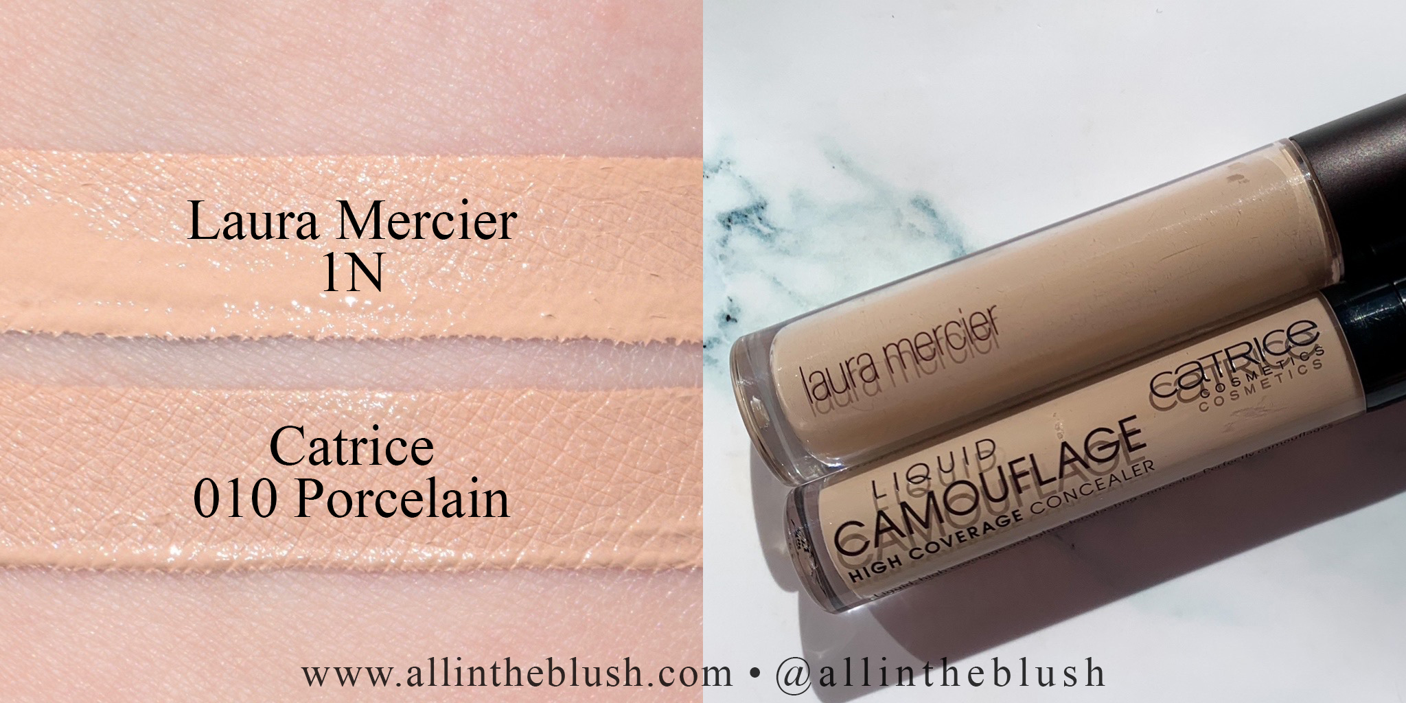 Swatch - Laura Mercier 1N and Catrice Cosmetics Liquid Camouflage Concealer 010 Porcelain