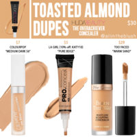 Huda Beauty Toasted Almond The Overachiever High Coverage Concealer Dupes