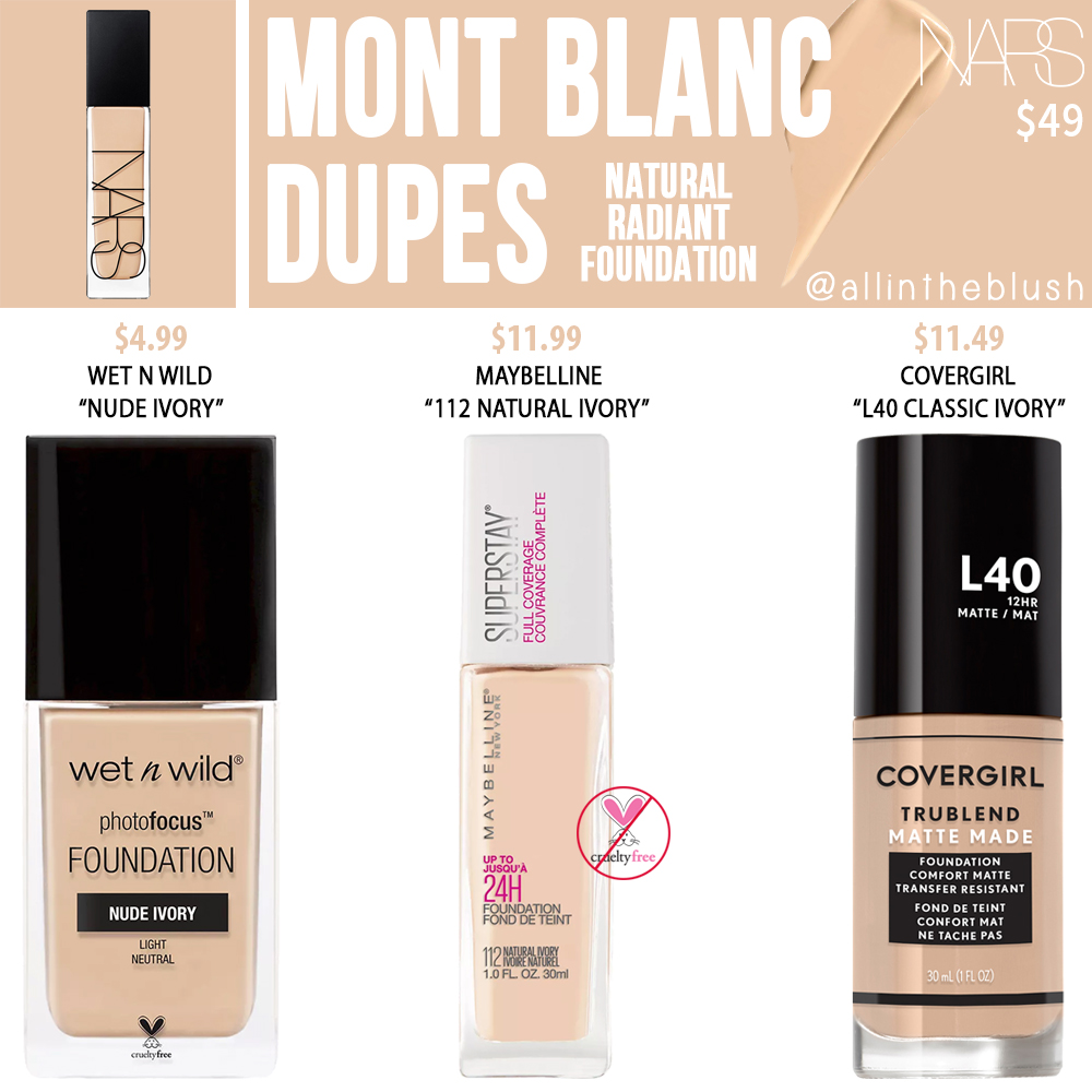 NARS Mont Blanc Natural Radiant Foundation Dupes