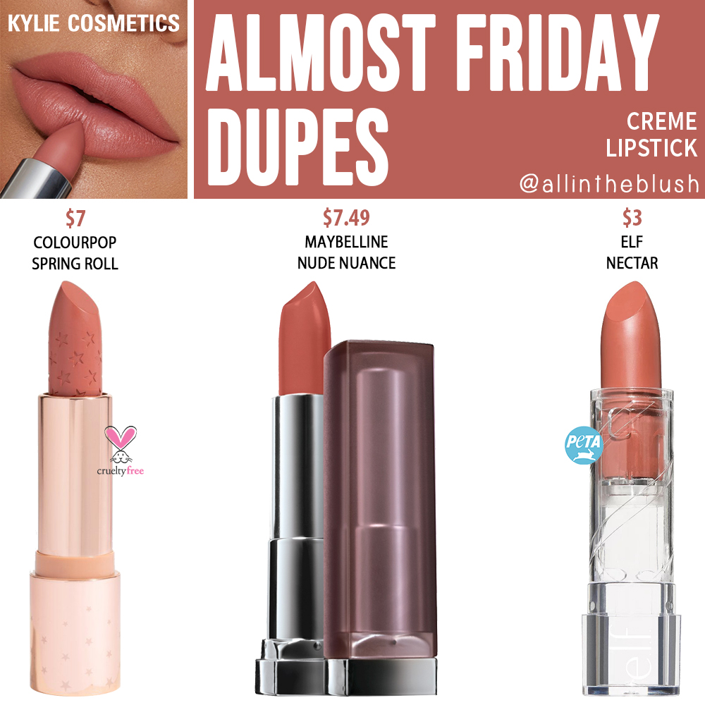 Kylie Cosmetics Almost Friday Matte Lipstick Dupes