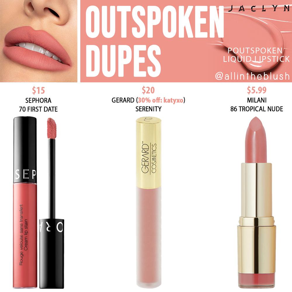 Jaclyn Hill Cosmetics Outspoken Poutspoken Liquid Lipstick Dupes