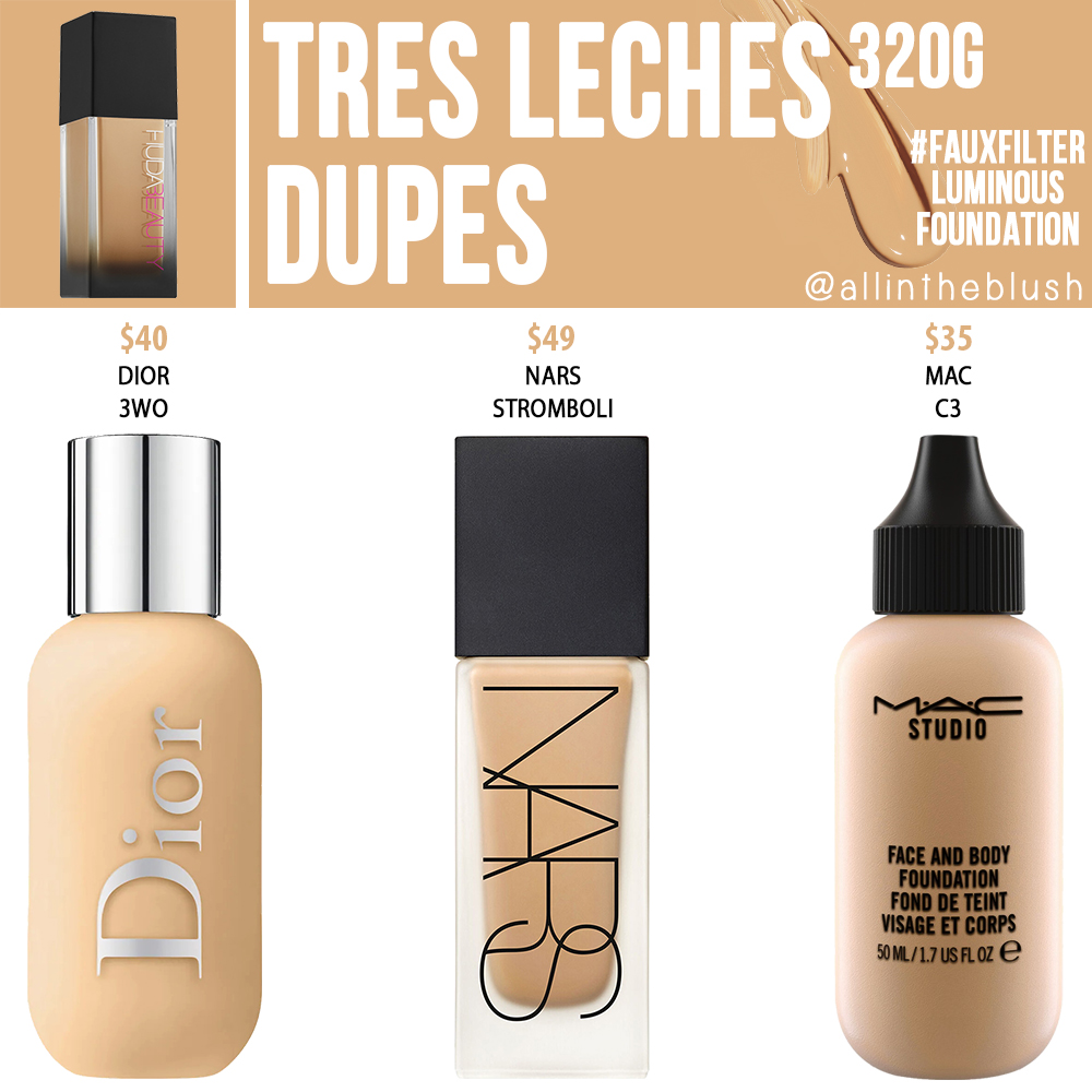 Huda Beauty 320G Tres Leches Faux Filter Foundation Dupes